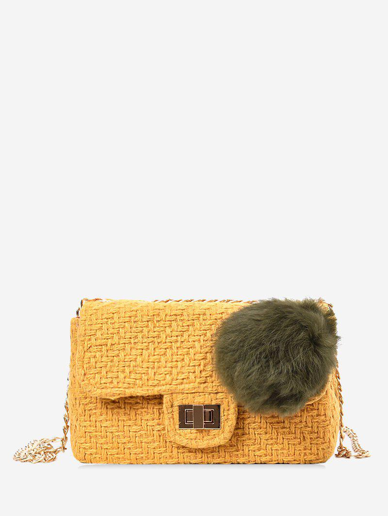 Chain Crossbody Bag With Pompom