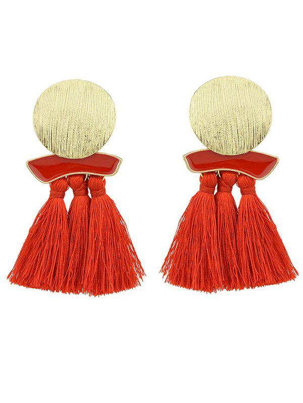 metal plate exaggerated earrings with fringed