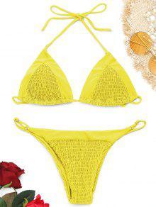 Conjunto De Bikini Halter Con Costuras Desgastadas - Amarillo S