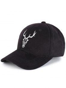 قبعة بيسبول مزينة بنمط ظبي - أسود