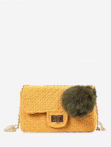 حقيبة كروسبودي مزينة بكرة بوم بوم مع سلسلة - الأصفر