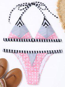 Conjunto De Bikini De Cadena De Lunares - Rosa S