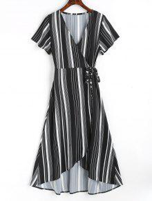 Robe Maxi Asymétrique à Rayures Asymétriques - Noir L
