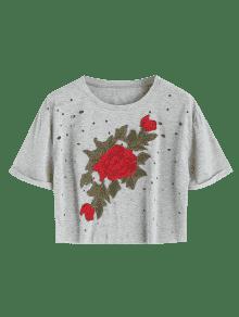 Top Agujeros Recortada Gris Parche S Bordados Florales xqpqIw0v