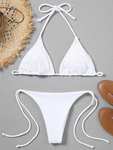 Conjunto De Bikini Acanalado - Blanco M