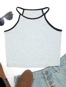 Camiseta Sin Mangas Con Cuello En Contraste De Algodón - Gris Claro Xl