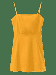 Mini Y Espalda Cordones Pana Vestido L Descubierta Con De Mostaza rW7Ucr