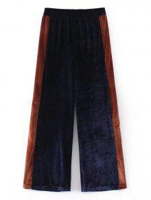 Pantalones De Pierna Ancha De Dos Tonos De Terciopelo - Azul Purpúreo S