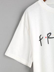 Contraste T Shirt Dots Letter Blanco S Eawarq