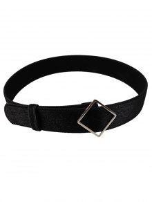 غير النظامية مشبك معدني مزينة فو الجلد المدبوغ حزام الخصر - أسود