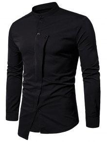 اليوسفي طوق غير النظامية زر حتى قميص غير المتماثلة - أسود L