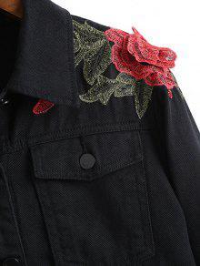 Bordada Estampado Con Negro En Denim Chaqueta S Floral Tqfnaxq1