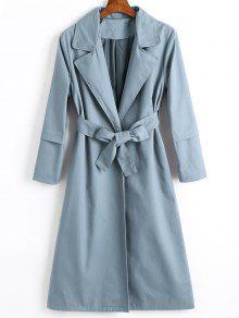 معطف الخندق مربوط تنورة بفتحات طويلة - الزرقاء الحجر S