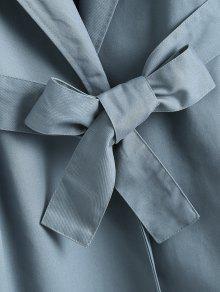 S Larga Gabardina Y 243;n Piedra Azul Cintur Con Falda xx87H4