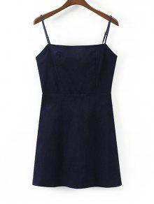 فستان مصغر مثير سحاب الظهر - Cadetblue رقم M