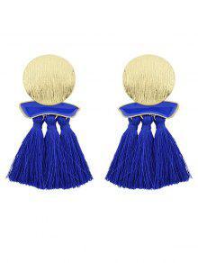 Fransen Metallplatte übertrieben Ohrringe - Blau