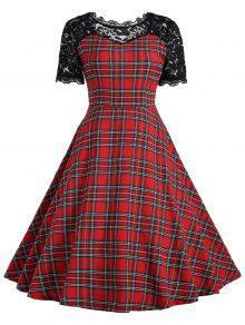 خمر الدانتيل لوحة الترتان اللباس - الأحمر مع الأسود S