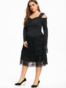 26% OFF] 2019 Plus Size Cold Shoulder Layered Gothic Dress In BLACK ...