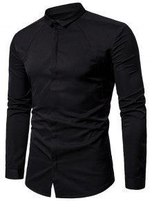 طوق طوق مغطاة زر قميص - أسود L