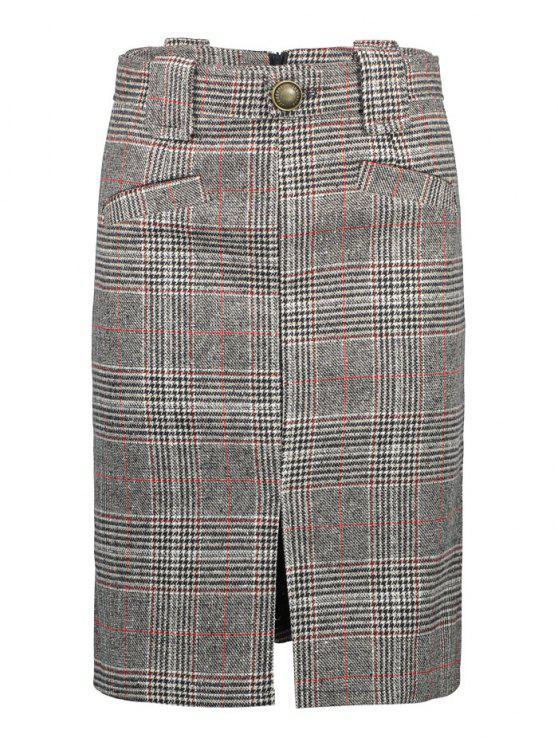 women's Vintage Plaid Skirt - GRAY S
