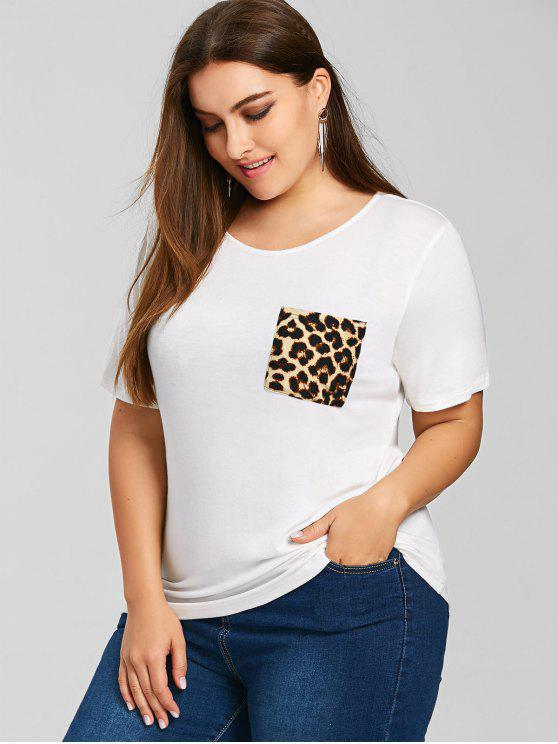 T-shirt Plus Size Con Tasca Stampata Leopardo - Bianco 2XL