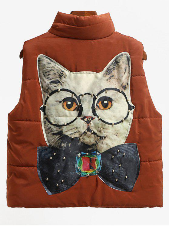 latest Beading Cat Patched Back Puffer Waistcoat - DARK AUBURN M