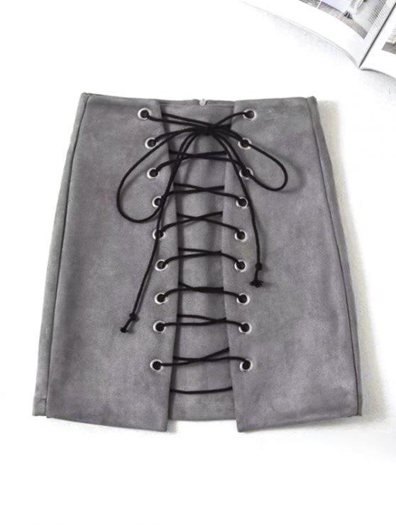 تنورة سويدي اصطناعي رباط مصغر - اللون الرمادي M
