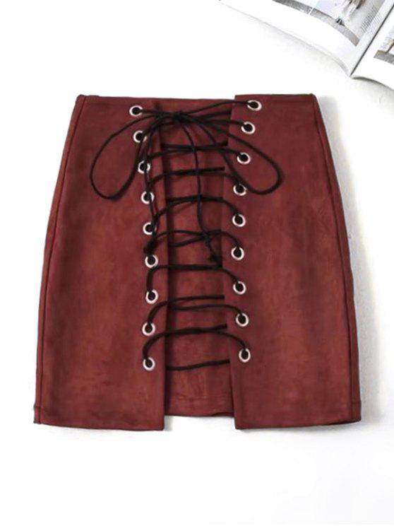 تنورة سويدي اصطناعي رباط مصغر - نبيذ أحمر L
