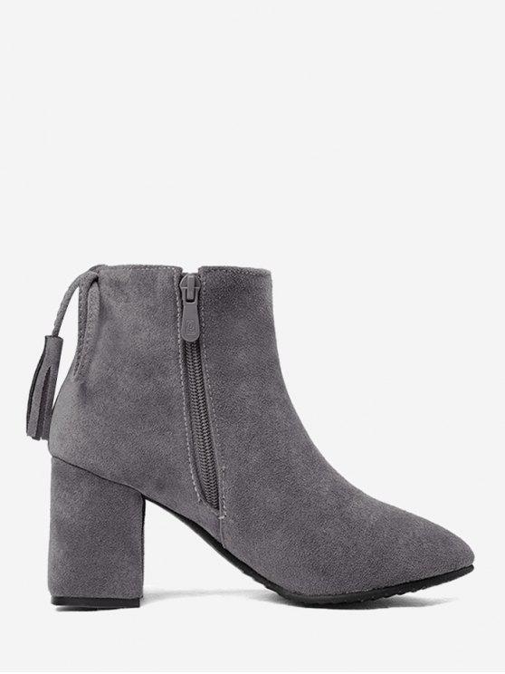 sale Block Heel Tassels Boots - GRAY 42