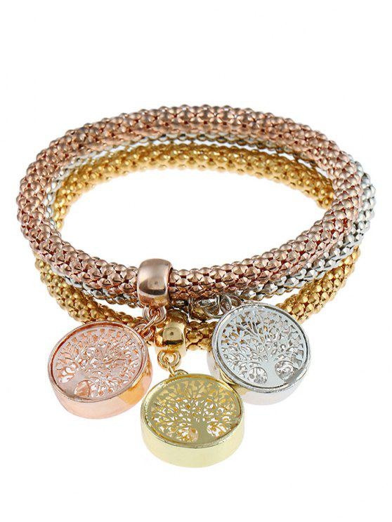 lady Elastic Tree of Life Charm Bracelet Set - COLORMIX