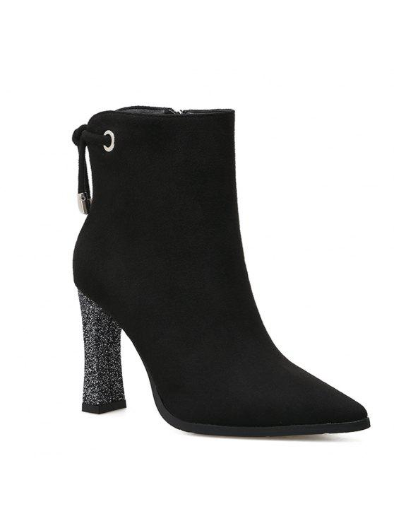 chic Shimmering Heel Point Toe Ankle Boots - BLACK 36