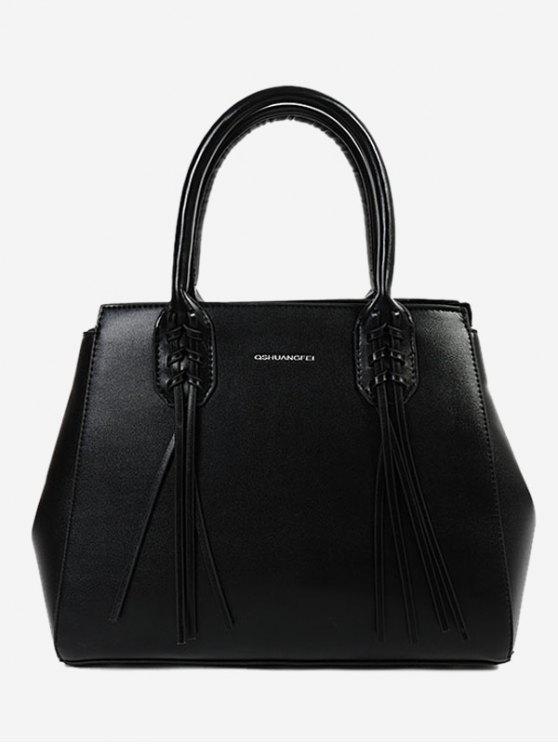 outfits PU Leather Braid Tassel Handbag - BLACK