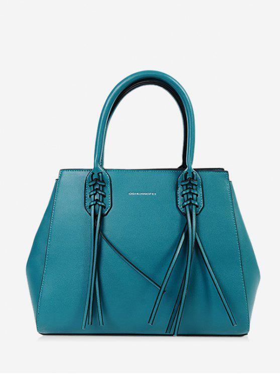 fashion PU Leather Braid Tassel Handbag - BLUE