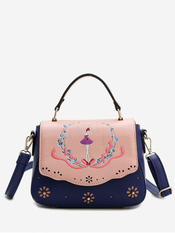 unique Embroidery Laser Cut Out Print Handbag - BLUE
