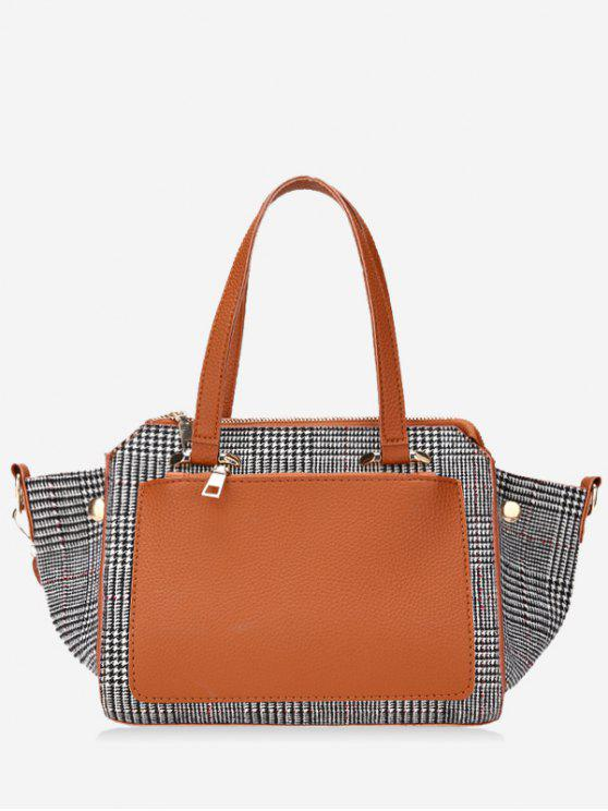 Contrasting Color Plaid Handbag Brown