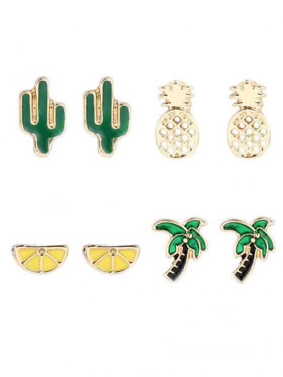 trendy Coconut Tree Cactus Lemon Pineapple Earring Set - GOLDEN