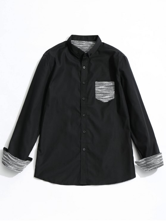 chic Front Pocket Button Down Shirt - BLACK S