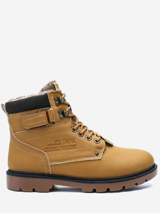 Botas de Chukka Toe Redondo com Forro de Faux-Fur - Amarelo 45