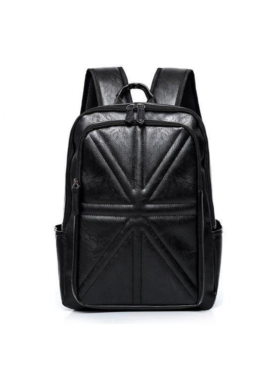 affordable Stitching Quilted PU Leather Backpack - BLACK