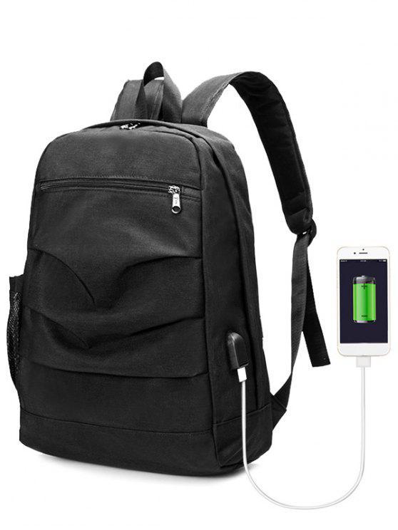 Sac à dos ruché avec port USB - Noir