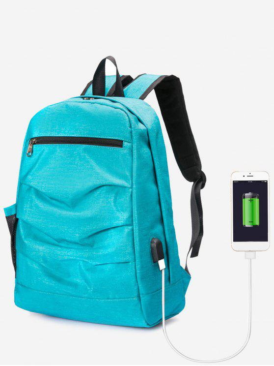 women USB Charging Port Ruched Backpack - BLUE