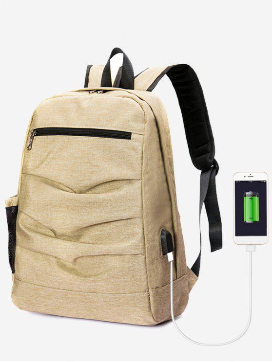 women's USB Charging Port Ruched Backpack - KHAKI