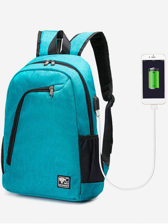ladies USB Charging Port Side Pockets Backpack - BLUE