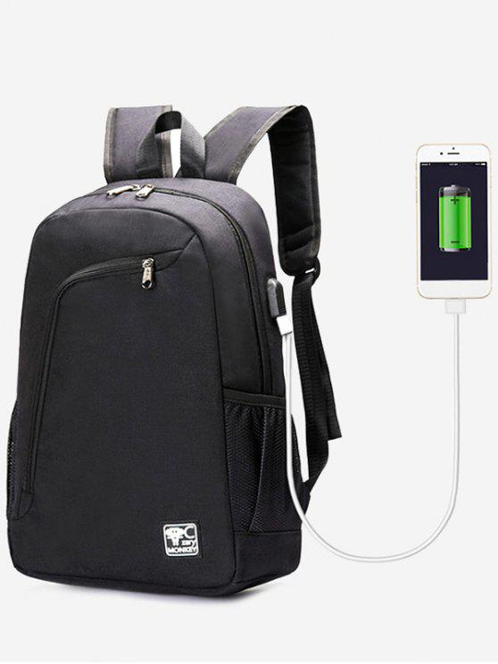 lady USB Charging Port Side Pockets Backpack - BLACK