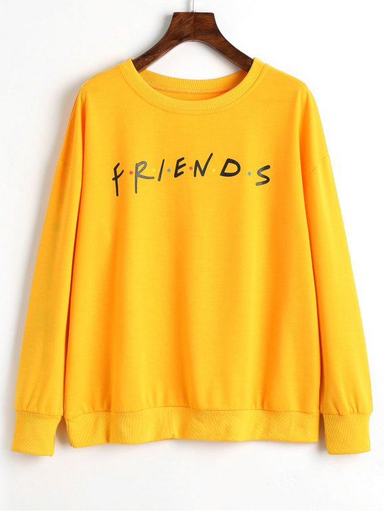 outfit Colorful Dots Letter Sweatshirt - YELLOW XL