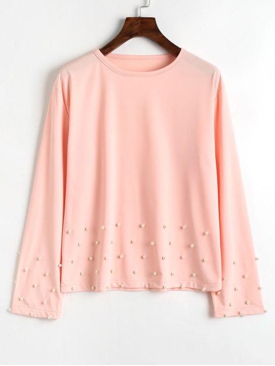 Lange Ärmel Prelen T-Shirt - Rosa XL