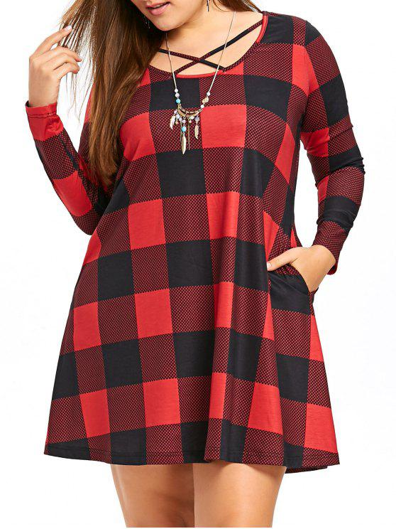 Plus Size Long Sleeve Criss Cross Plaid Tunic Dress Checked Plus