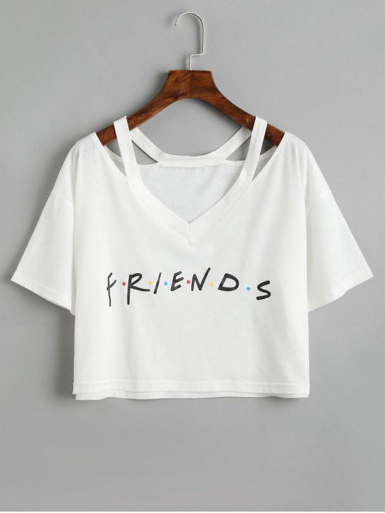 1a2fcf7a 29% OFF] 2019 Letter Cold Shoulder Cropped Top In WHITE | ZAFUL