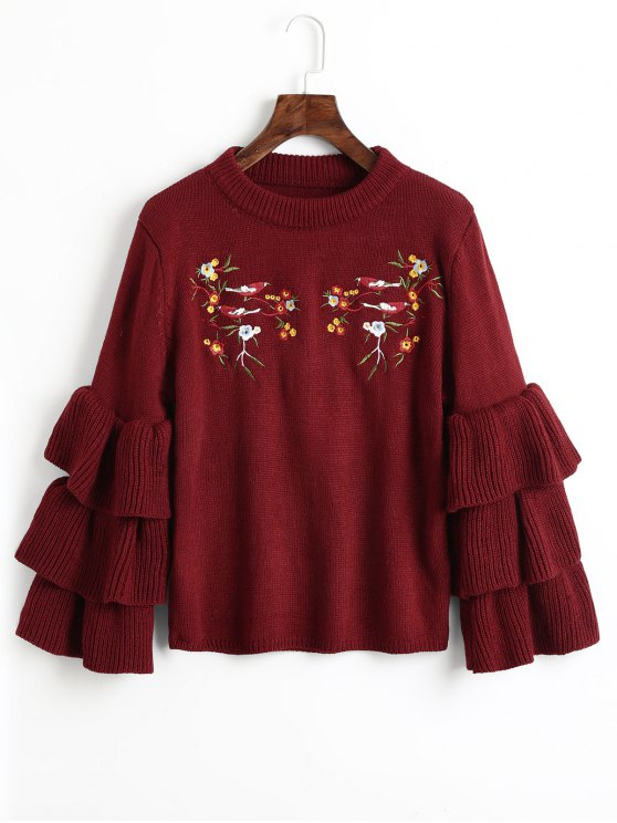 unique Layered Sleeve Floral Embroidered Sweater - WINE RED ONE SIZE