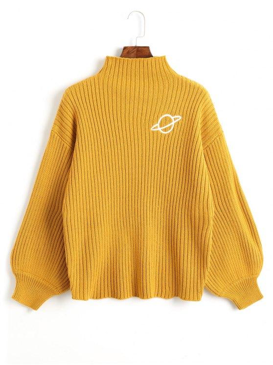 Вышитый свитер - Горчичный  Один размер